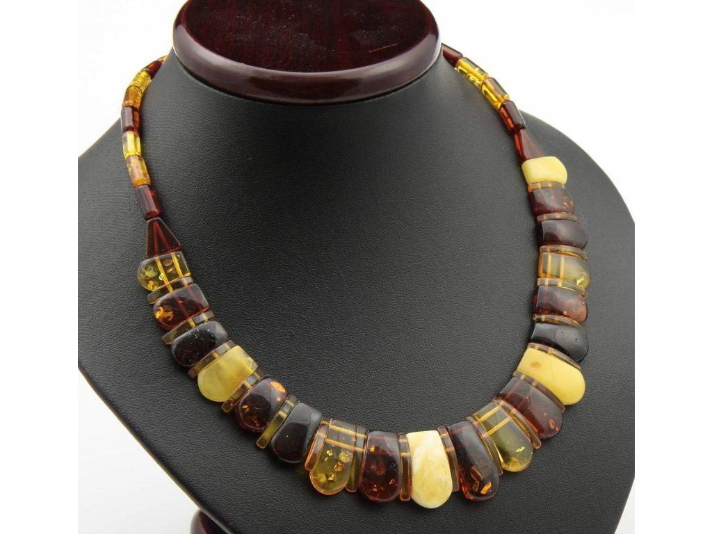 4d4838979 Elegantní jantarový náhrdelník v barvě multi 4, leštěný, dlouhý 45 ...