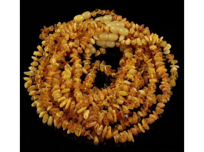 Jantarové korálky pro děti, tvar Chips v barvě MÁSLOVÉ, cca 30-32 cm