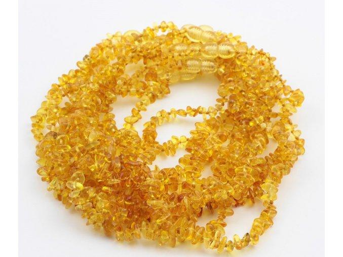 Jantarové korálky pro děti ve tvaru Chips, v barvě CITRON, cca 32 cm
