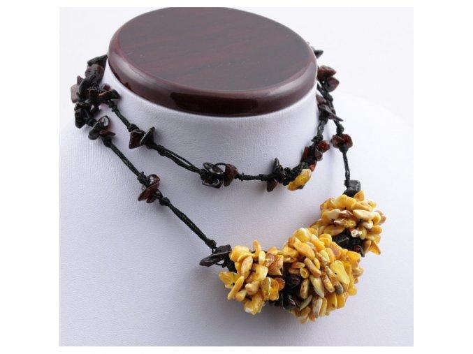 jantarovy nahrdelnik barevny leskle cca 67 cm