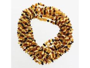 Jantarové korálky pro děti ve tvaru chips v barvě MÍCHANÉ, cca 30-32 cm