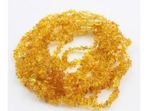 Jantarové korálky pro děti, tvar Chips, v barvě CITRON, cca 32 cm