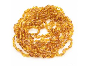 Jantarové korálky pro děti, tvar fazole, v barvě MED cca 32cm