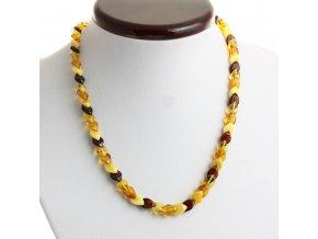 Jantarový náhrdelník v barvě Multi 4, leštěný, dlouhý 44 cm