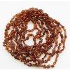 Jantarové korálky pro děti, tvar fazole, v barvě KOŇAK cca 32 cm