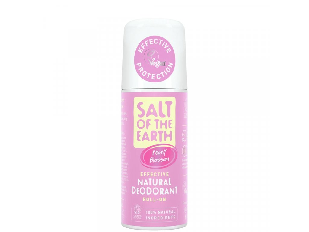 natural deodorant roll on Peony Blossom front pack 5000x