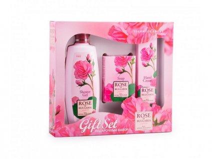 445 1 damsky darkovy set sprchovy gel prirodni mydlo a krem na ruce rose of bulgaria 505 ml