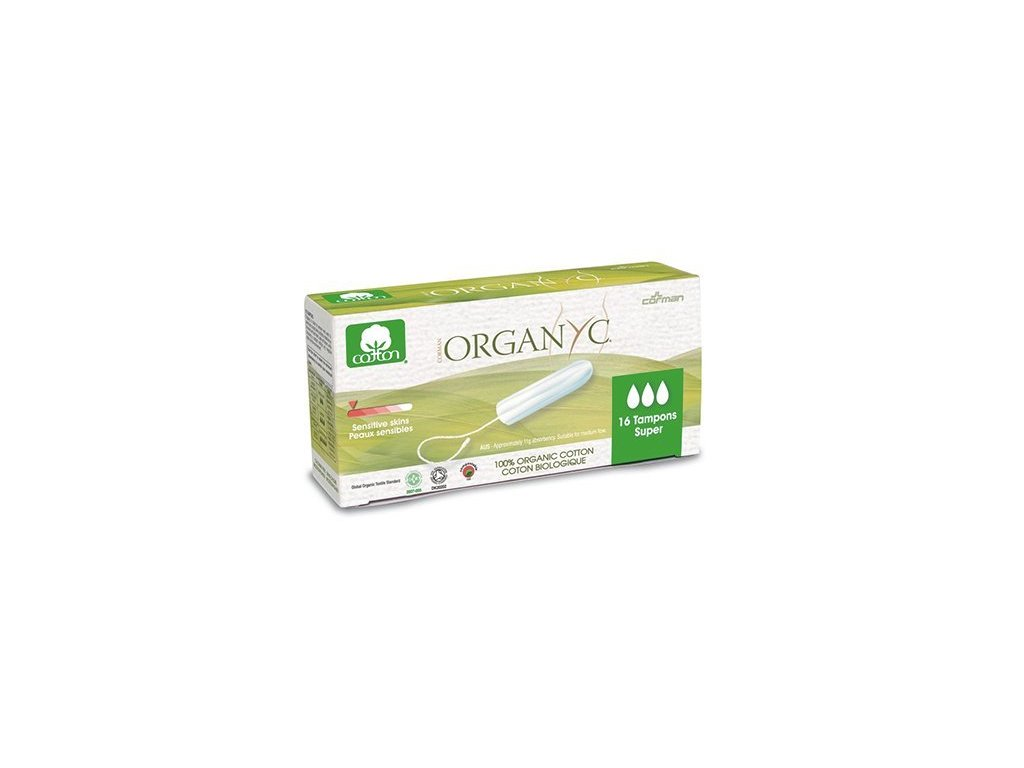 Organyc Tampony Super (16 ks) - 100% z biobavlny, 3 kapičky