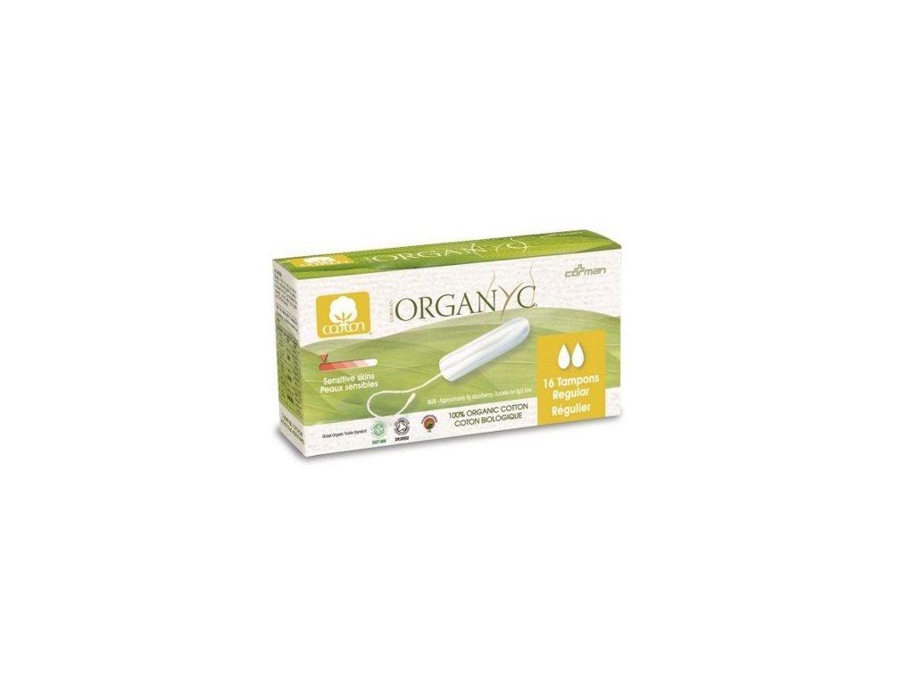 Organyc Tampony Regular (16 ks) - 100% z biobavlny, 2 kapičky