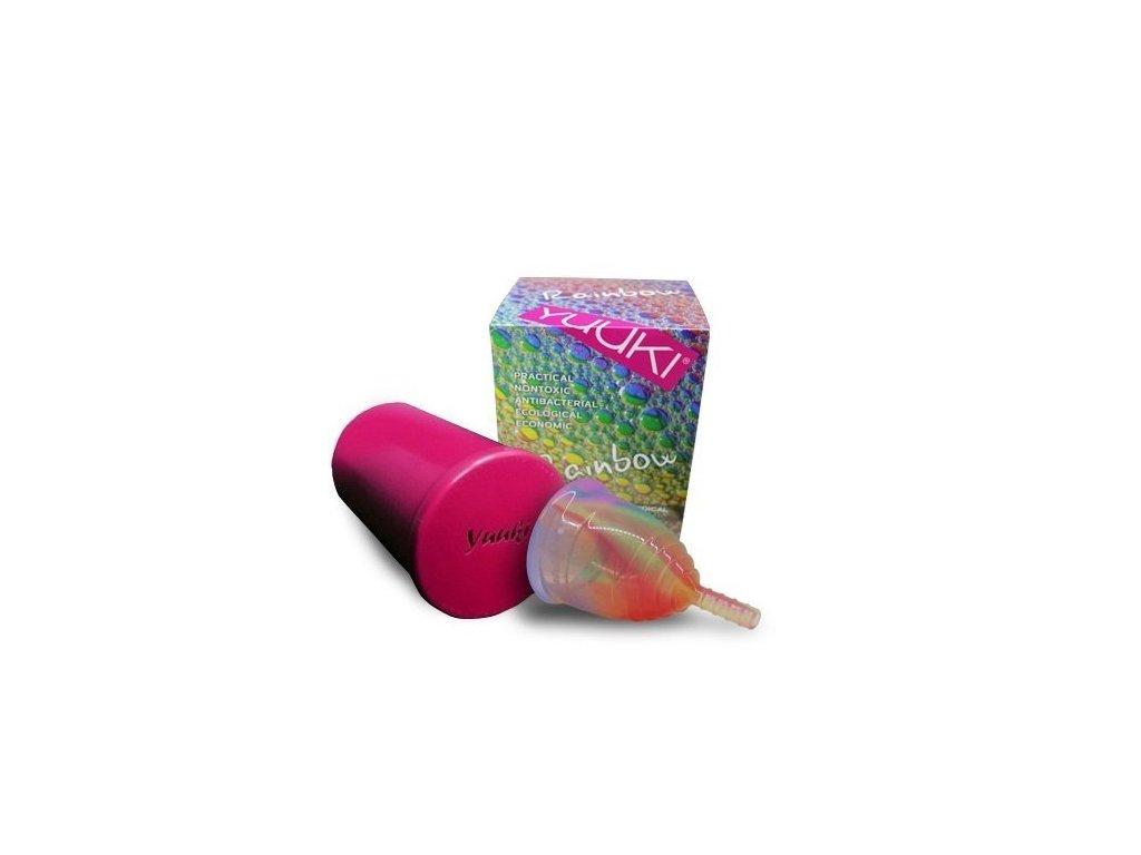 Yuuki Menstruační kalíšek RAINBOW JOLLY vel. 1 menší, měkčí, včetně sterilizačního kelímku