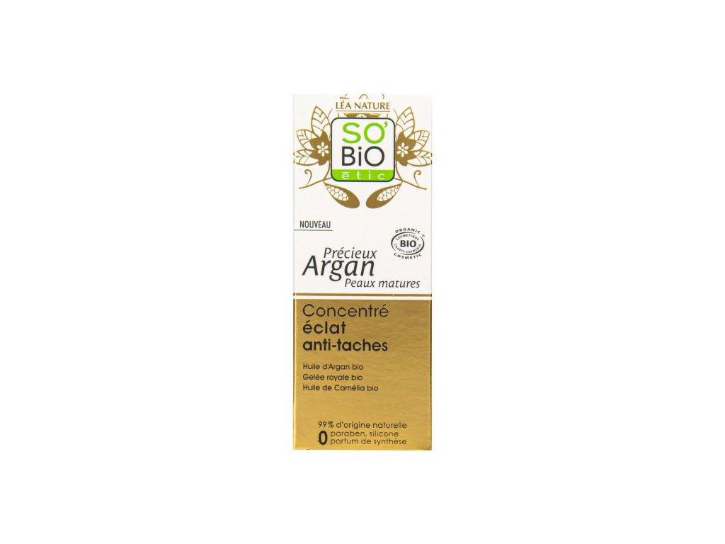 SO'BiO étic Koncentrát rozjasňující proti pigmentovým skvrnám Precieux argan zralá pleť 40 ml BIO