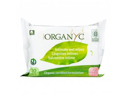 Organyc Vlhčené ubrousky pro intimní hygienu BIO (20 ks) - 100% z biobavlny