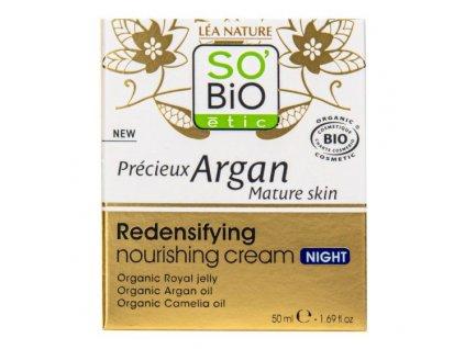 SO'BiO étic Krém noční výživný a zpevňující pro zralou pleť Precieux argan 50 ml BIO