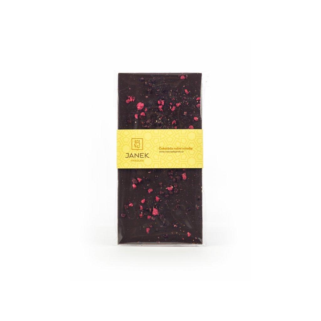 143 horka cokolada s drcenymi lyofilizovanymi malinami a ostruzinami