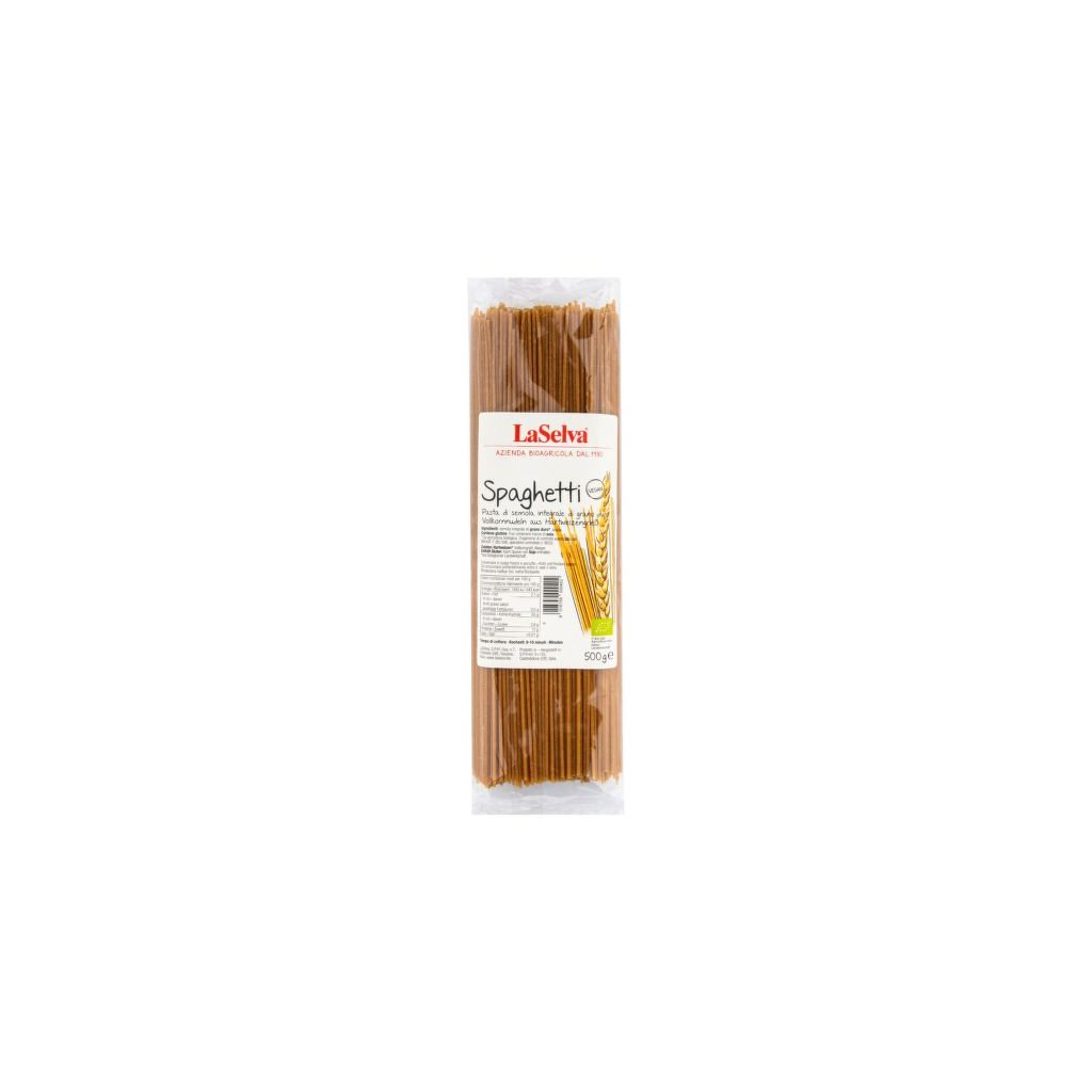 Špagety pšeničné celozrné semolinové 500g Bio  LA SELVA