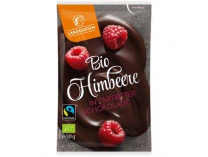 10 x Landgarten Bio Hořká čokoláda s malinami, 50g