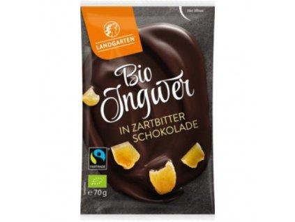 10 x Landgarten Bio Hořká čokoláda se zázvorem, 70g
