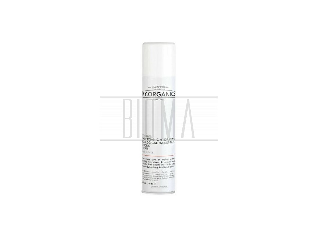 my organics the organic hydrating ecological hairspray strong argan 250ml