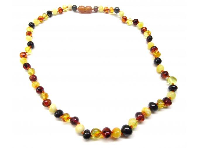 Jantarový náhrdelník 45 cm- kulaté, leštěné kamínky, multicolor