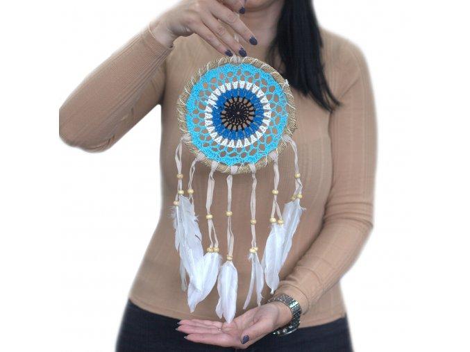 modrý lapač snů 16 cm kruh