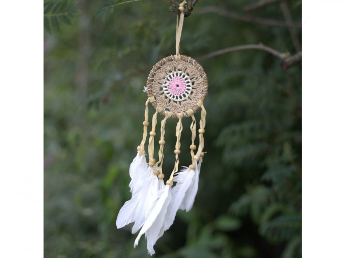 Růžový macramé lapač snů 16 cm průměr kruhu