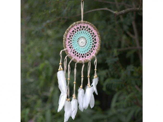 Růžový macramé lapač snů  9 cm průměr kruhu