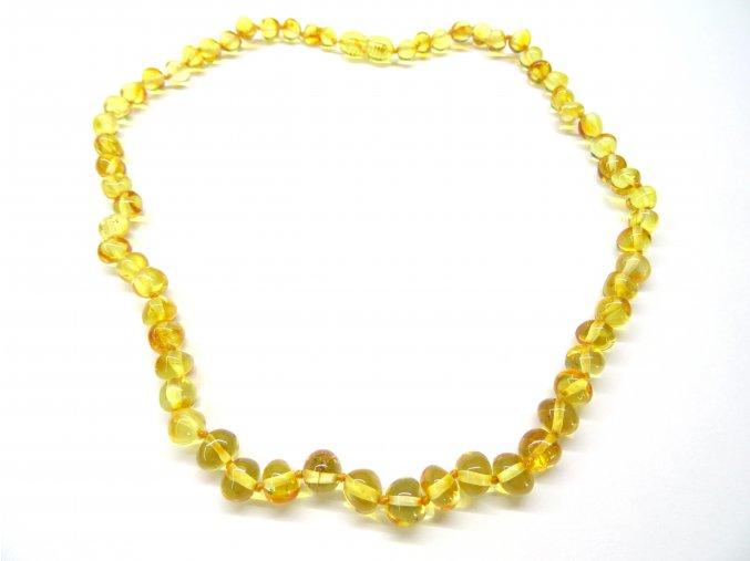 Jantarový náhrdelník pro dospělé - kulaté, leštěné kamínky (45 cm)