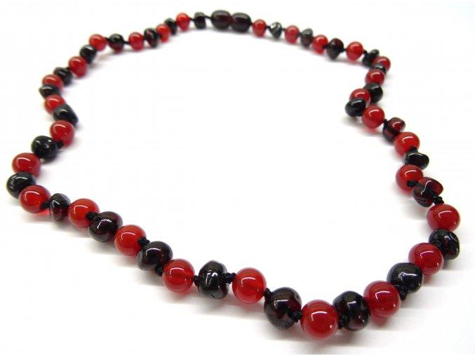 Jantarový náhrdelník pro dospělé s červeným onyxem - 45 cm