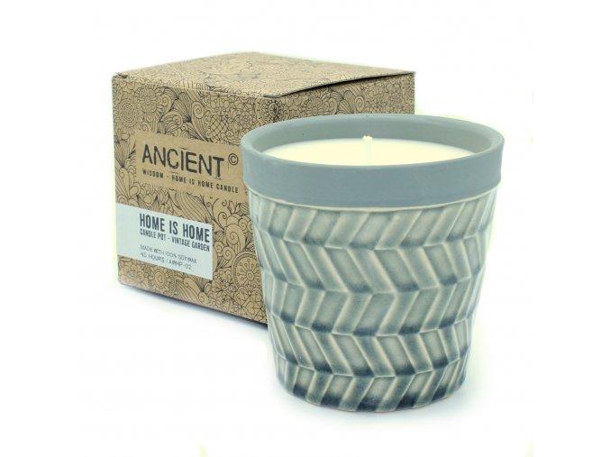 aromaterapie svíčka v květináči