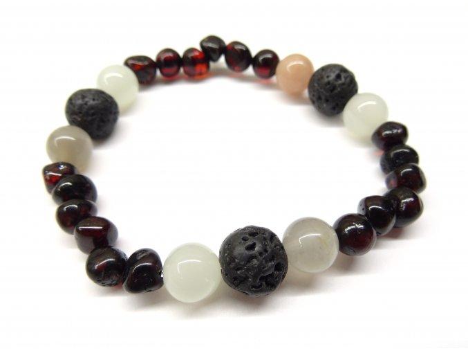 Náramek pro ženy - rubínový jantar, láva, měsíční kámen a bílý achát