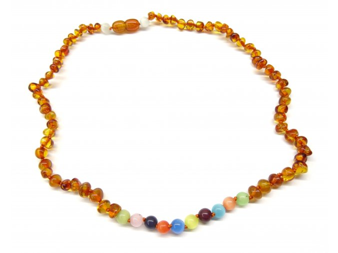 Jantarový náhrdelník s kočičím okem - 45 cm
