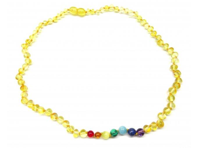 Čakrový náhrdelník pro dospělé s citronovým jantarem - 45 cm
