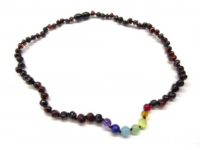 Čakrový náhrdelník pro dospělé s rubínovým jantarem - 45 cm