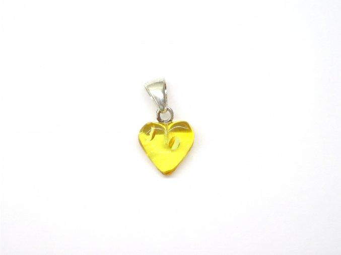 Srdíčko - kombinace citronového jantaru a stříbra