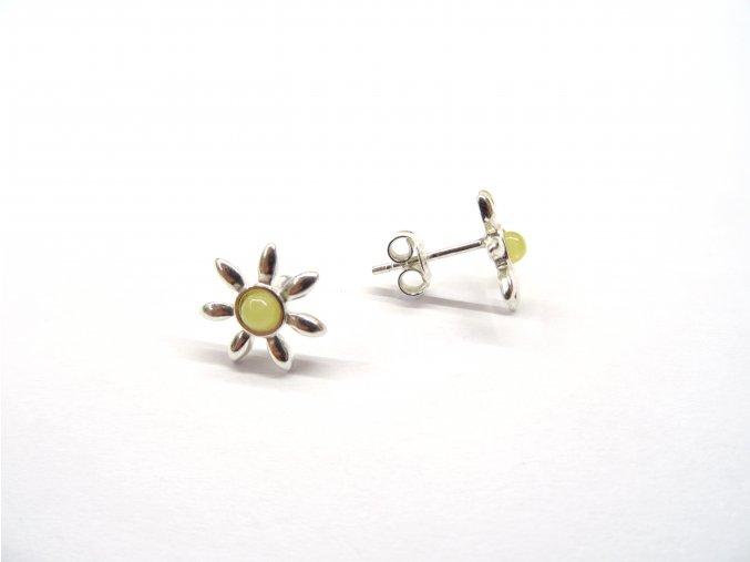 Stříbrné náušnice - květiny/ různé barvy