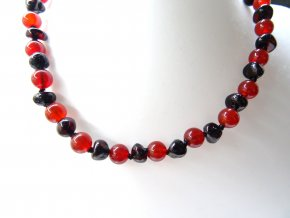 náhrdelník jantar onyx