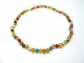 Jantarový náhrdelník s mnohobarevným achátem - 45 cm