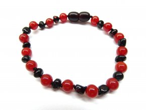 Náramek pro ženy - rubínový jantar a červený onyx- 18 cm