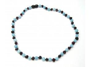 Jantarový náhrdelník s akvamarínem 45 cm