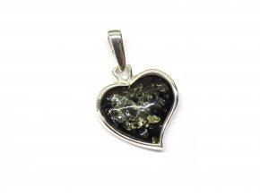 Stříbrné srdce se zeleným jantarem