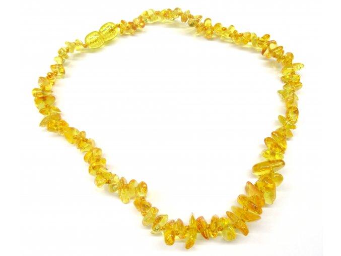 Jantárové korálky pre deti - prírodné citrónovej (zapínanie bezpečnostná)