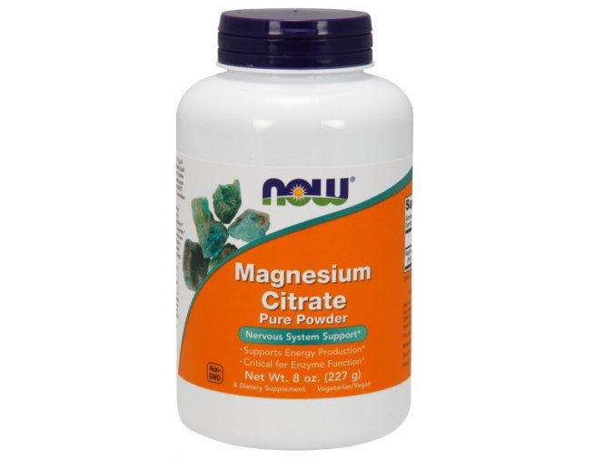 NOW Magnesium Citrate (hořčík citrát), čistý prášek, 227 g