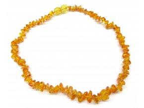 Jantárové korálky pre deti - prírodné medové svetlé (zapínanie bezpečnostná)