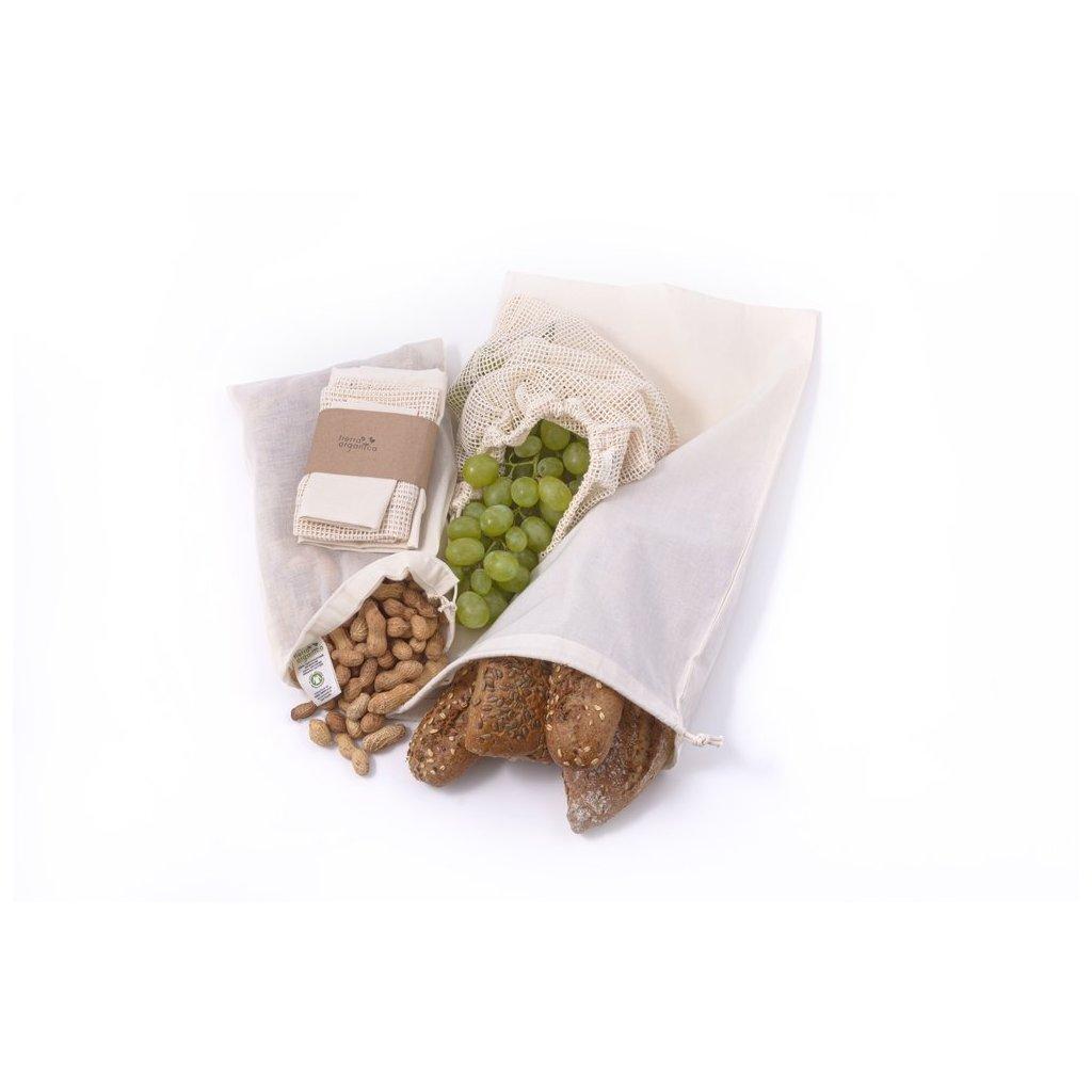 Sada vrecúšok z biobavlny na potraviny 3 ks - Casa Organica