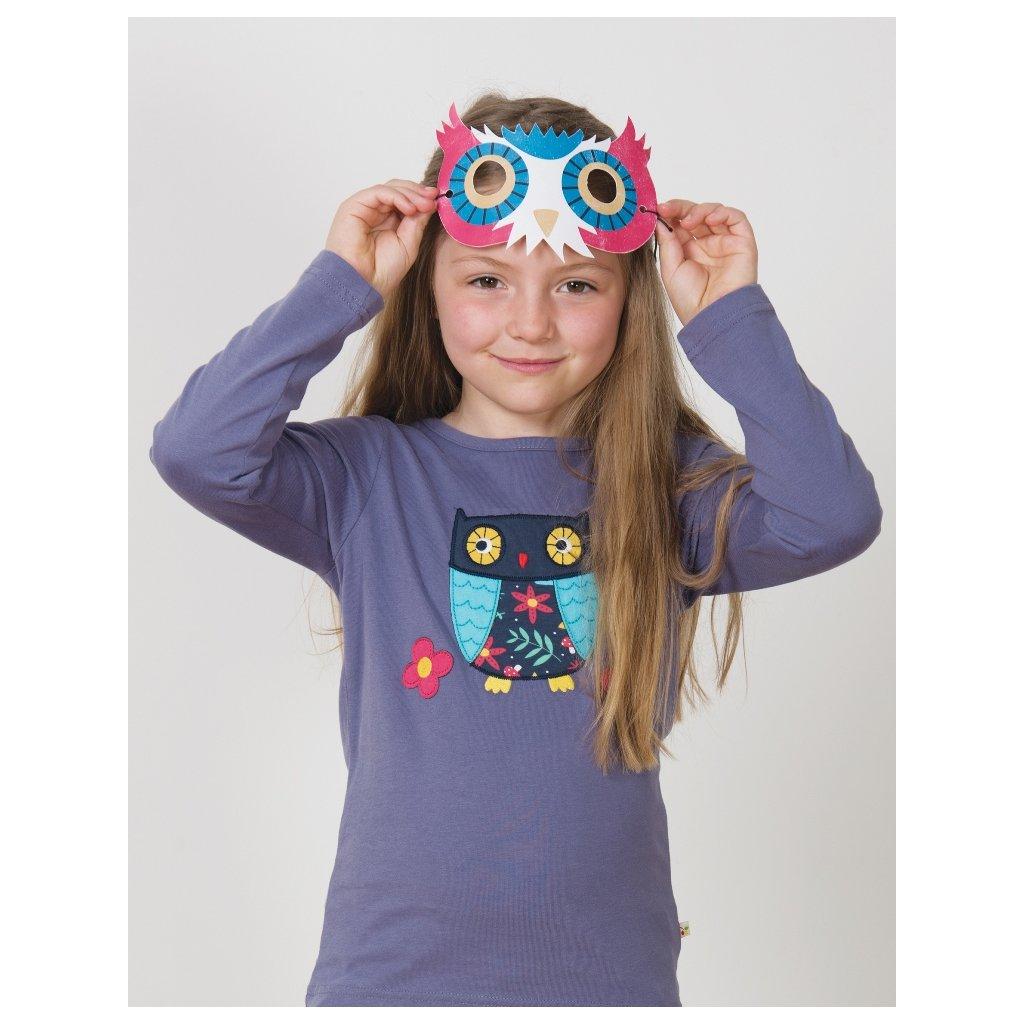 Fialové tričko so sovou - Frugi