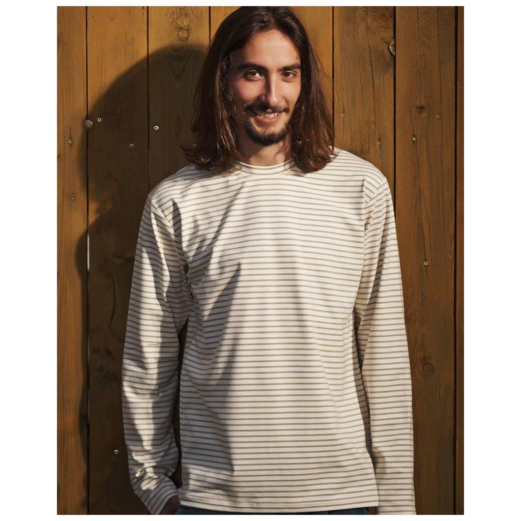 edb1342fa01 Pánske tričko smotanové s olivovými prúžkami - Biošatník - Biomoda