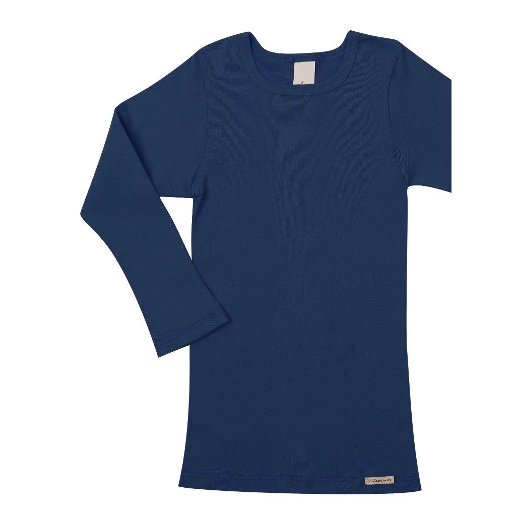 Detský nátelník s dlhými rukávmi z biobavlny námornícka modrá - Comazo