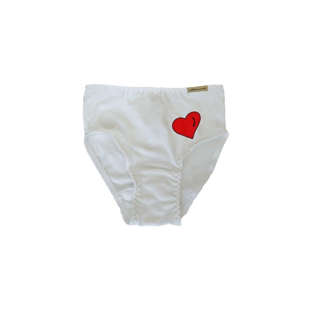 Dievčenské nohavičky biele so srdiečkom - Comazo