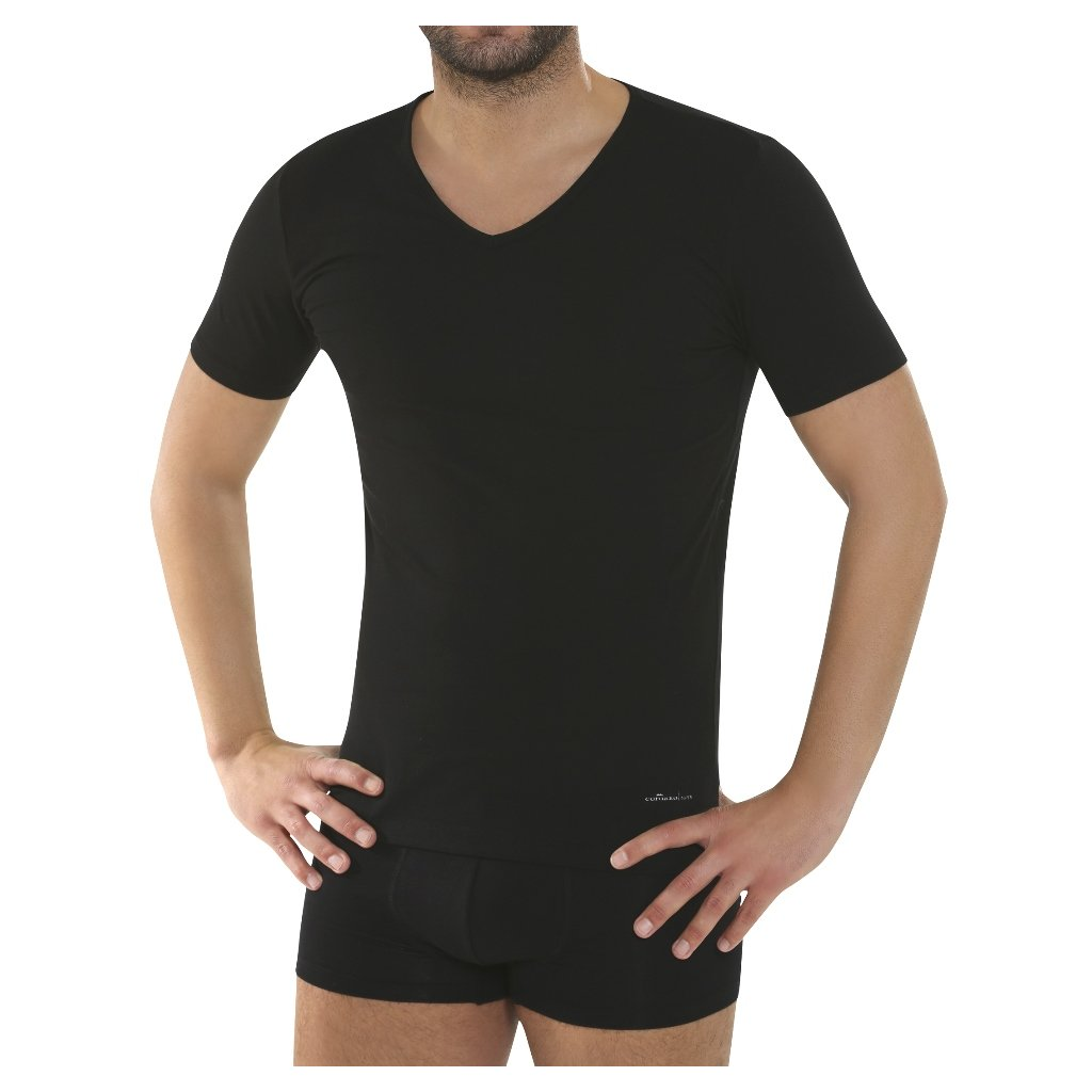 Pánsky nátelník s krátkymi rukávmi čierny - Comazo