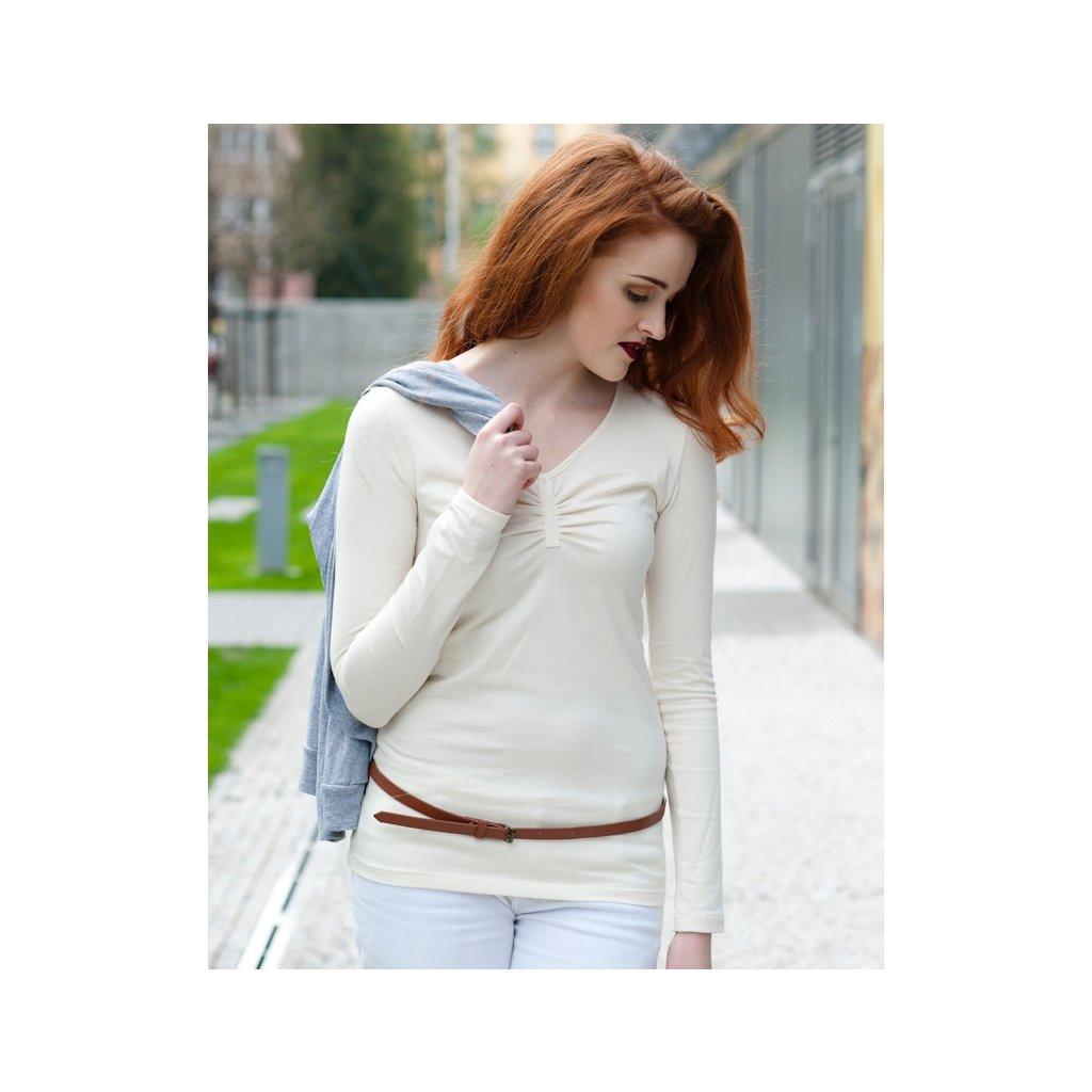 3e1f06cc3f2 Dámske tričko s dlhým rukávom smotanové - Biošatník - Biomoda